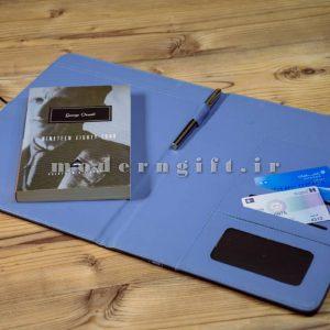 کیف فولدر چرمی A4 دوتکه آبی
