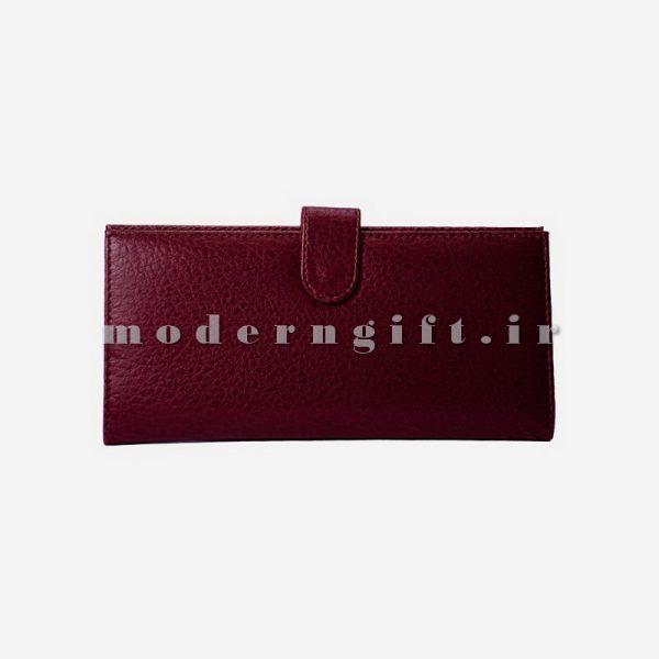 کیف پول زنانه چرمی زرشکی