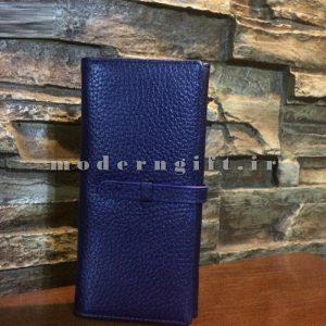 کیف پول زنانه چرمی آبی
