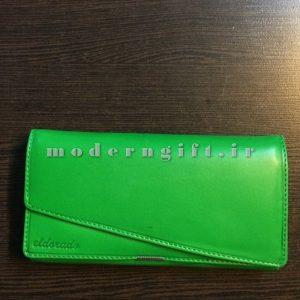 کیف پول زنانه چرمی سبز